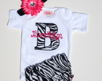 Monogram Baby Girl Clothes Newborn Girl Take Home Outfit Personalized Baby Girl Outfit bodysuit Zebra Diaper Cover Flower Headband Gift Set