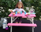 Pink Picnic Table for 18 in American Girl Doll.