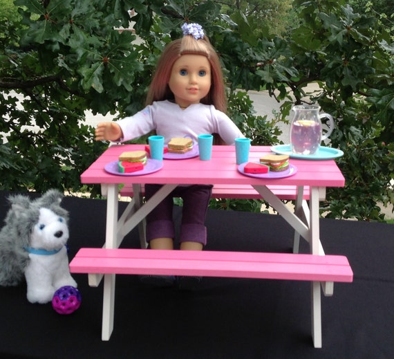 American Girl Doll Picnic Table Hot Pink