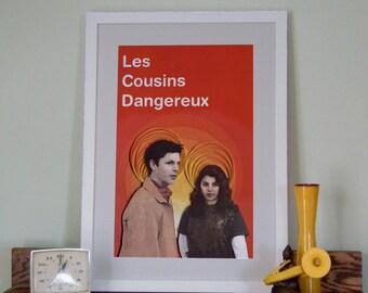 Arrested Development poster, Les Cousins Dangereux, George-Michael Bluth and Maeby Fünke, paper art print, 12x18 paper art print