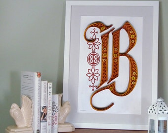 B - Monogram poster, initial Print, Quilled typography poster, Paper art print, 12x18 in
