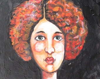 Original Painting - Portrait of a Women with Red in her Hair - Small Painting on Wood - Ready To Hang