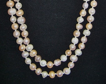 """SALE -TAKE 20% OFF-Incredible 47"""" Freshwater, Shades of Cream, Pearl Necklace - Free Shipping"""