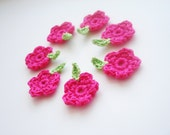 Crochet Flowers & Leaves, Garden/Meadow Appliques, Small Tiny Bright Pink Flowers, Spring Green Crochet Leaves, Decorative Motifs, Set of 7