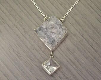 Signet Necklace, quartz drusy 78ct and tourmalinated quartz statement necklace