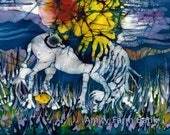 "Unicorn Born -  batik original painting  - art - ""The Last Unicorn"""