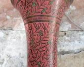 Vintage Brass Engraved Vase India