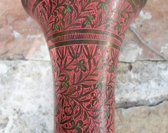 Vintage Brass Engraved Vase India