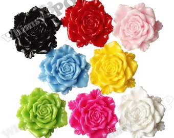 10 - Large MIXED Colors Bloomin' Rose Cabochons, Rose Shaped, 24mm (R6-028/36)