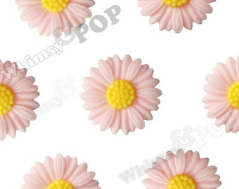 27mm - Large Matte Pink Daisy Sunflower Resin Cabochons, Daisy Cabochons, Flower Cabochons, Flower Cabs, Sunflower Cabochons (R6-045)
