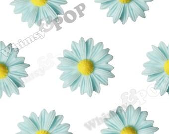 10 - Aqua Blue Gerber Daisy Sunflower Resin Cabochons, Daisy Cabochon,  22mm x 7mm (R6-007)