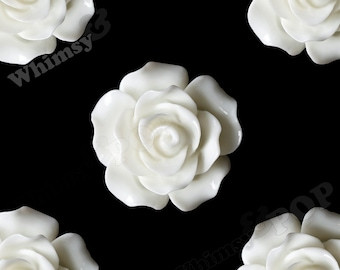 Large Detailed White Rose Deco Resin Cabochons, Flower Shaped, Flatback Roses, Flat Back Roses, Flower Cabochons, Flower Cabs, 20mm (R1-023)