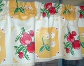 Valance Cotton 45 x 13  Yellow  Retro KITCHEN Apples and Cherries 1940s TABLECLOTH Look Print Window Valance