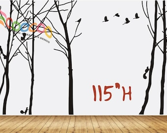 "Wall Decal, wall Stickers ,Tree Wall Decals ,Wall decals, Removable, Tree and Birds, happy forest XL 115""H"