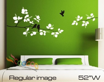 "Wall Decal, wall Stickers ,Tree Wall Decals ,Wall decals, Nursery wall decal, Removable: DC0126. 52""W Two colors Branches and birds"