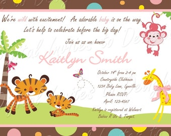 Baby Shower Jungle Animal Girl Invitation and Water Bottle Labels DIY