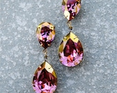 Gold Lilac Plum Rhinestone Earrings Love Swarovski Crystal Purple Duchess Hourglass Post Earrings Mashugana
