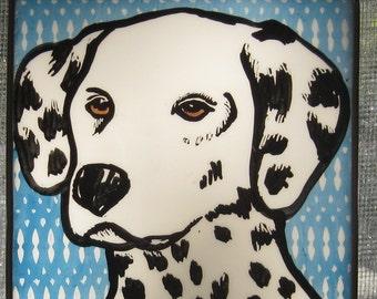Stained Glass  Dog  Suncatcher  Dalmation  JRN091