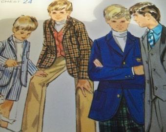1970 Butterick 5411 Size 6 Chest 24 Boys Jacket Pattern Boys Vest Pattern Boys Pants Pattern Boys Shorts Pattern Boys Suit Pattern ff