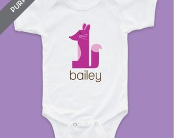 Personalized Foxy Fox First Birthday Girl Tshirt