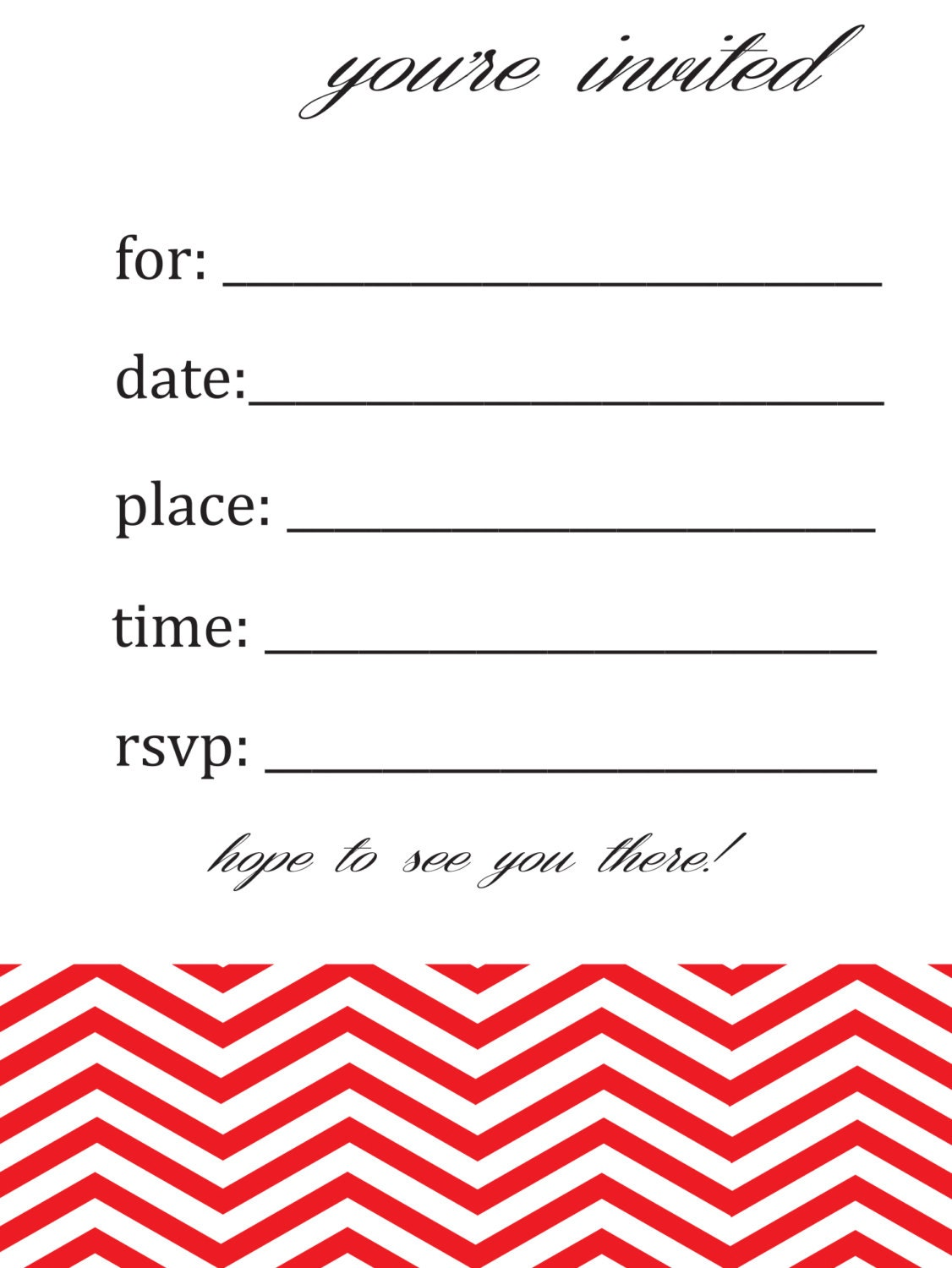 General/Blank Chevron Birthday Or Party Invitation By