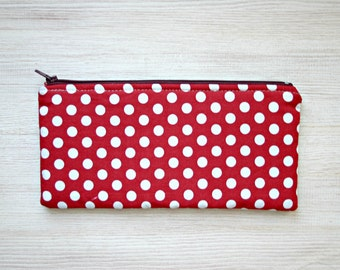 Red white Polka dot Pencil case Back to school Retro