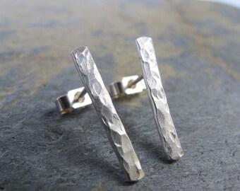 Long sterling silver stud earrings- textured minimalist bars.