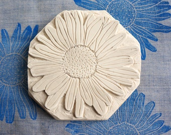Hand Carved Rubber Stamp, Marguerite, Daisy, Flower Stamp
