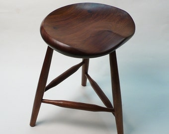 "Black Walnut Tripod Stool 18"" Large- Guitar Stool, for Computer Desk, Kitchen or Office"
