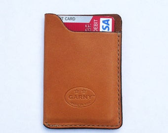 Leather Card Case, minimalist leather wallet, men's wallet, simple wallet,  whiskey color leather, garny No.10