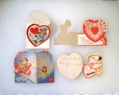 Vintage Valentine Cards / 4 Used Die Cut Fold Out / POPEYE, Pilot / Mixed Media / Paper Crafts / Free US Shipping