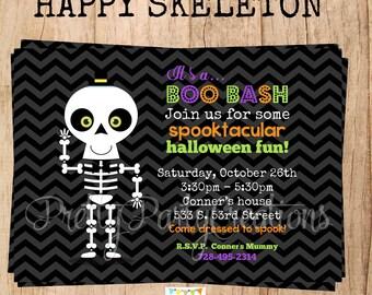 HAPPY SKELETON invitation - Halloween or Birthday - YOU Print