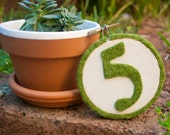 Faux moss embroidery hoop table number