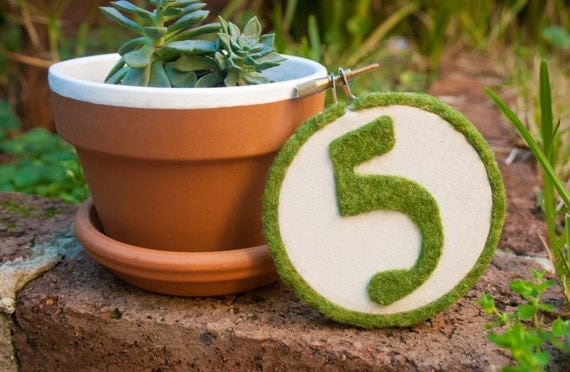 Faux Moss Embroidery Hoop Table Number By MakesTwoWeddings