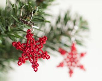 Earrings-Red Snowflake Crochet Earrings,Boho Chic Jewelry,Christmas,NewYear,Winter Jewelry