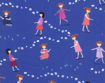 Half Yard Hello Petal Jump Rope in Lovely Cobalt Blue, Aneela Hoey, Moda Fabrics, 100% Cotton Fabric, 18560 17