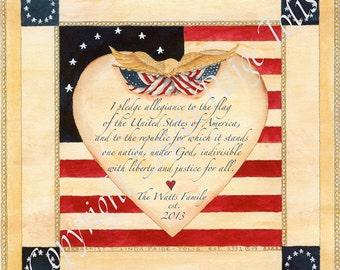Americana Art Pledge by Linda Paige Tolis One Nation Under God Personalized Patriotic Art Print