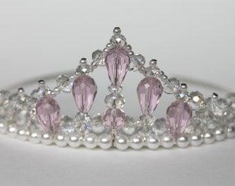 Pink Crystal Beaded Princess Tiara