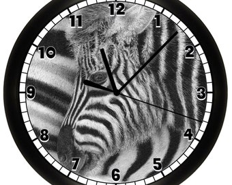 Black and White Striped Zebra Decorative Wall Clock