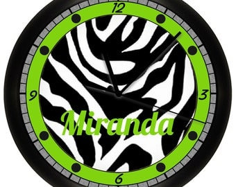 Personalized Lime Green Zebra Animal Print Wall Clock