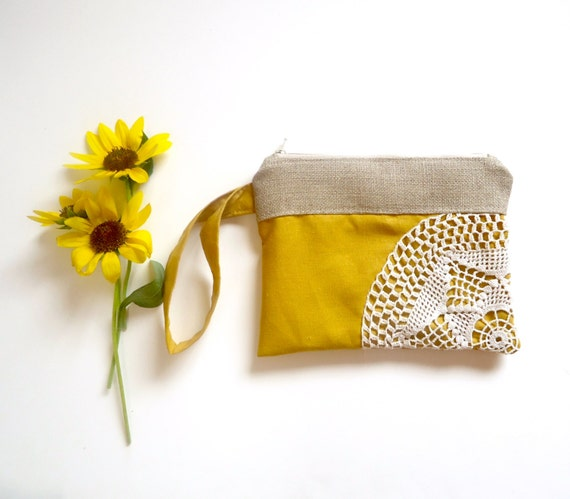 Saffron Linen Burlap Vintage Doily Zipper Wristlet - Amber Wedding - Mustard Bridesmaid Gift