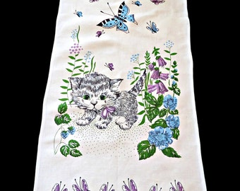 Vintage Tea Towel Kitten and Butterfly