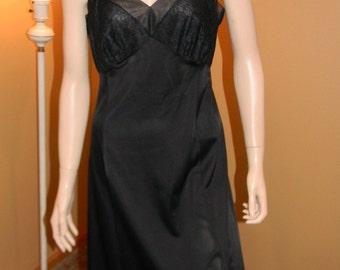 Van Raalte Black Slip. French style .Nylon Lingerie. Holiday  1950S Original Lingerie. Dress slips. Liz Taylor Look