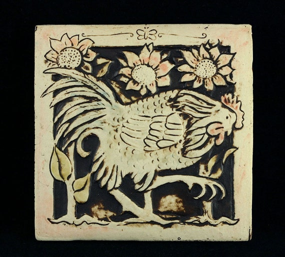 Rooster with Sunflowers - 4x4 Handmade Ceramic  Tile - For Fireplace, Garden, or Wall Hanging
