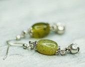 Funky Beadwork Earrings, Green Dangle Earrings, Vintage Silver Earrings, Bell Earrings, Olive Green Autumn Earrings September Trends Jewelry