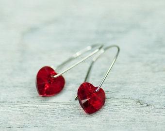 Romantic Earrings, Heart Red Earrings, Minimalist Earrings, Crystal Heart Earrings, Swarovski Jewelry, Red Heart Jewelry, Small Earrings