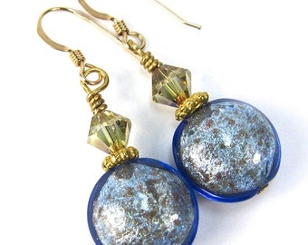 Light Blue and Gold Mottled Venetian Glass and Light Colorado Topaz Swarovski Earrings, Gold Filled Earwires