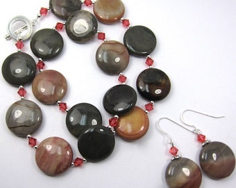 Jasper Necklace Earring Combo, Thunder Jasper and Padparadscha Swarovski Crystal  Necklace and Earring Set
