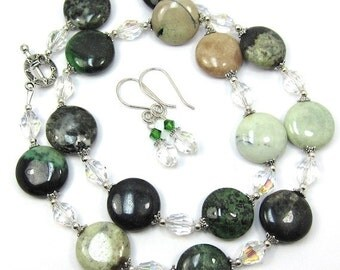 Green Jasper and Chinese Crystal Necklace and Earring Set
