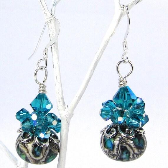 Teal, Black and White Earrings, Swirl Lampwork and Blue Zircon Swarovski Crystal Confetti